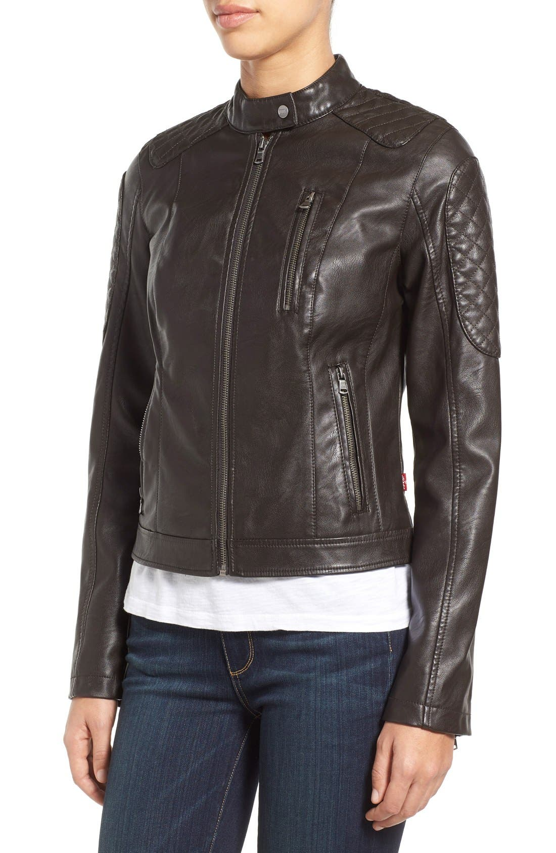 Alternate Image 4  - Levi's® Quilt Detail Faux Leather Racer Jacket