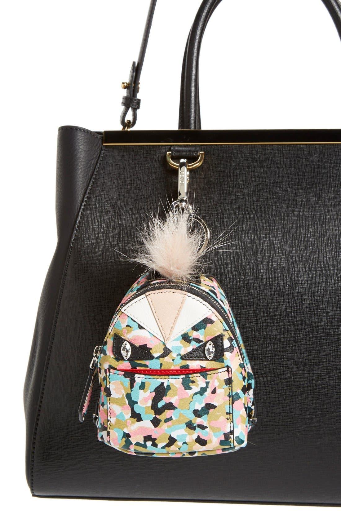 'Granite' Genuine Fox & Nutria Fur Trim Backpack Bag Charm,                             Alternate thumbnail 2, color,                             Saphire