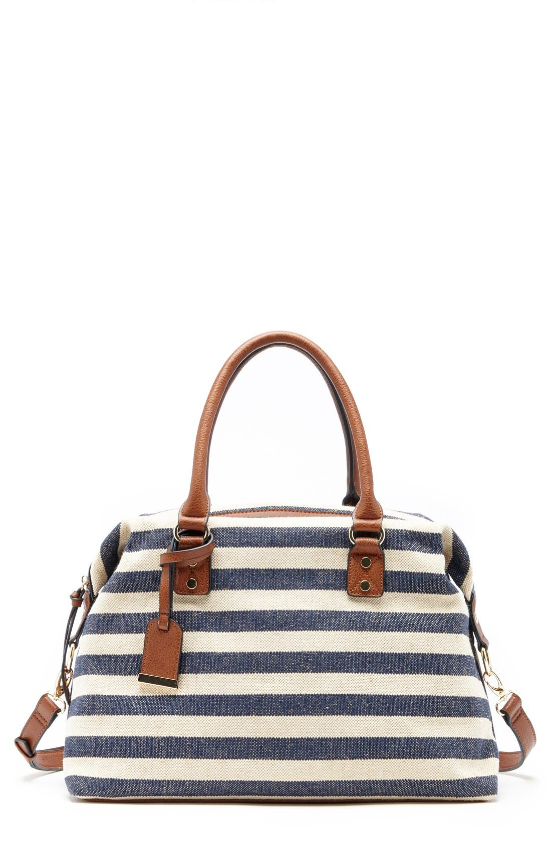 'Leighton' Stripe Duffel Bag,                             Main thumbnail 1, color,                             Navy/ Cream