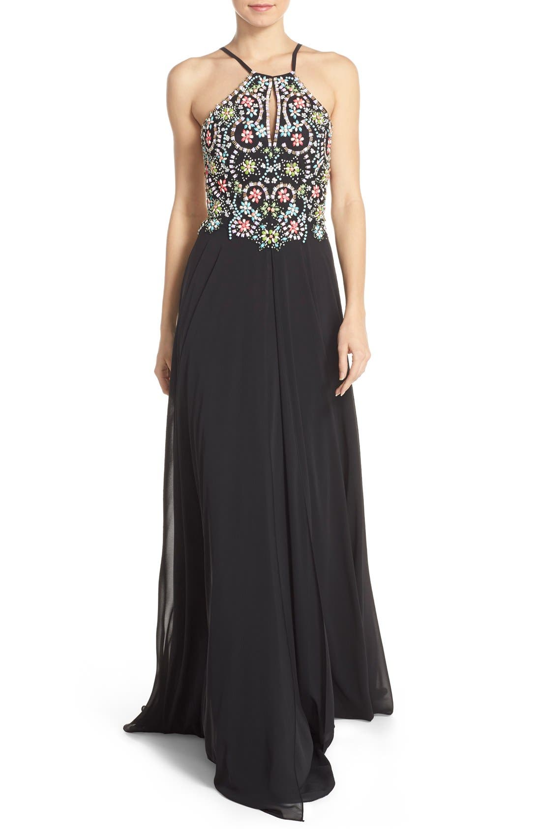 Main Image - Faviana Embellished Chiffon Fit & Flare Gown