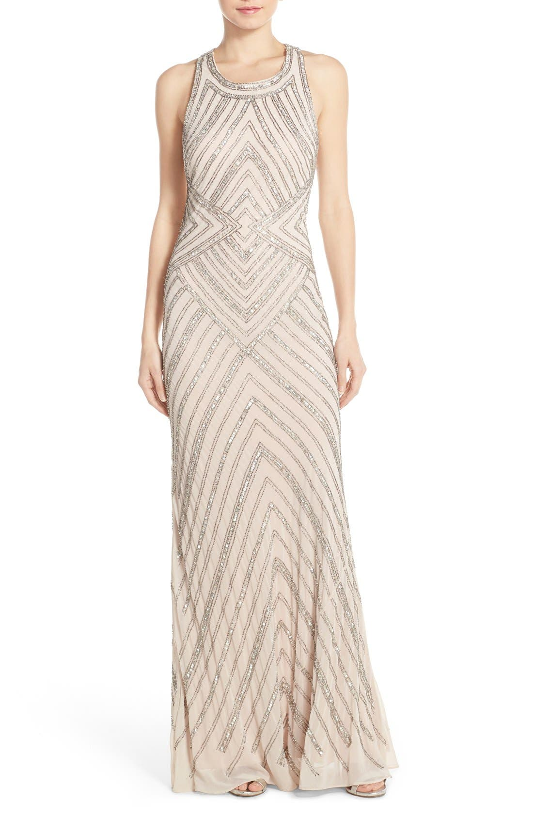 Alternate Image 1 Selected - Adrianna Papell Embellished Cross Back Gown
