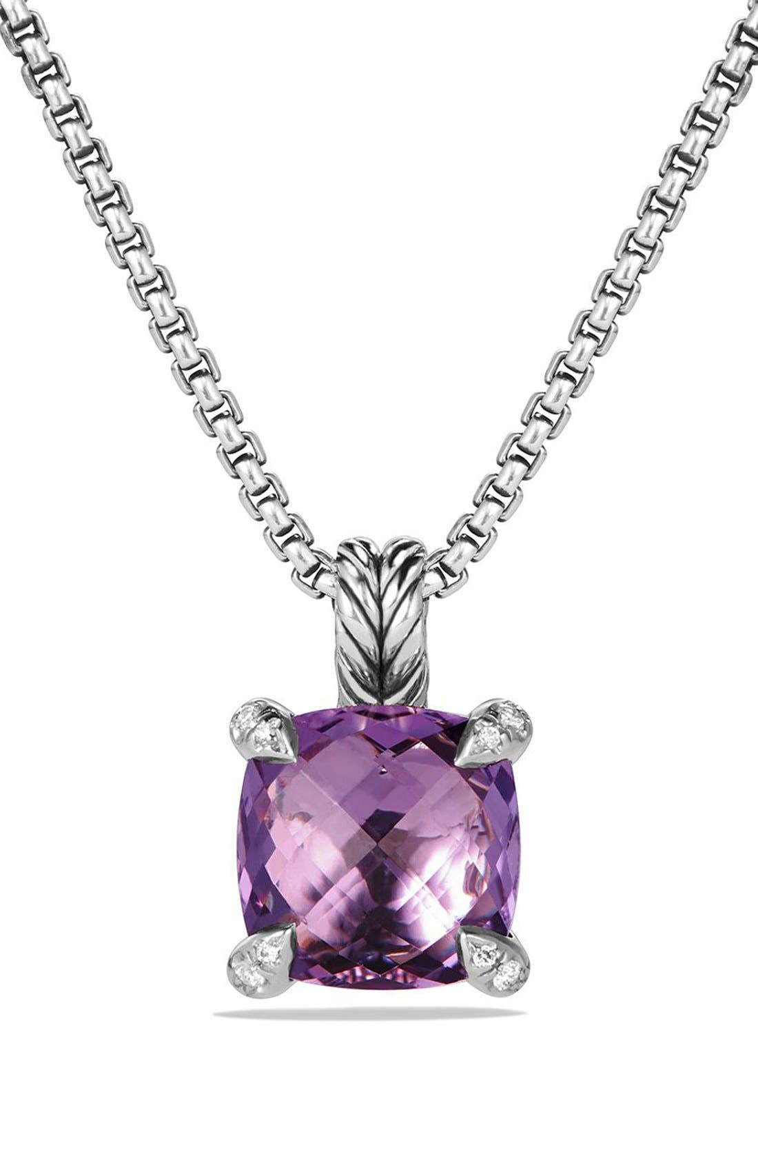 David Yurman 'Châtelaine' Pendant Necklace with Semiprecious Stone & Diamonds