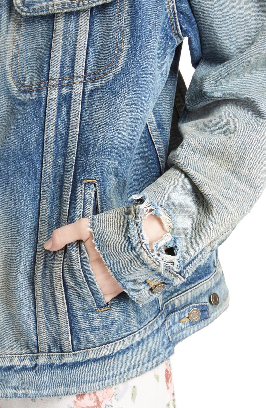 Alternate Image 6  - Saint Laurent Oversize Vintage Wash Denim Jacket