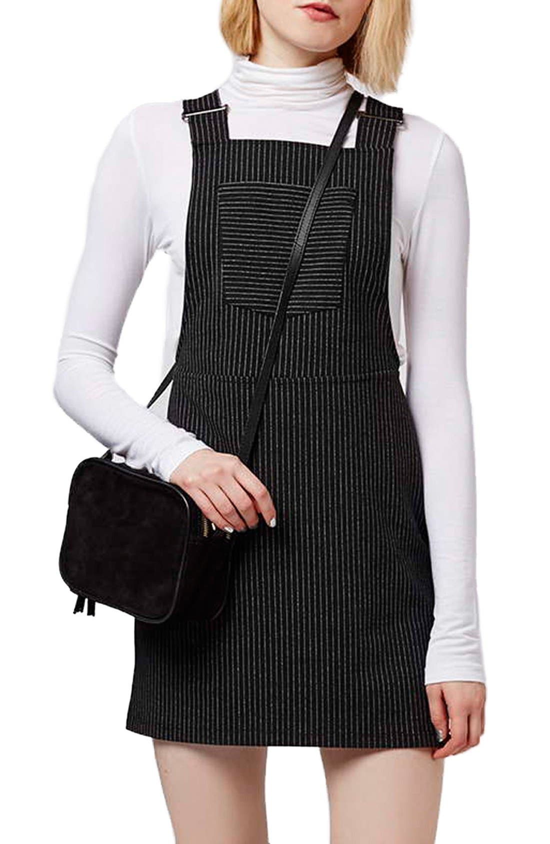 Alternate Image 1 Selected - Topshop Pinstripe Pinafore Dress