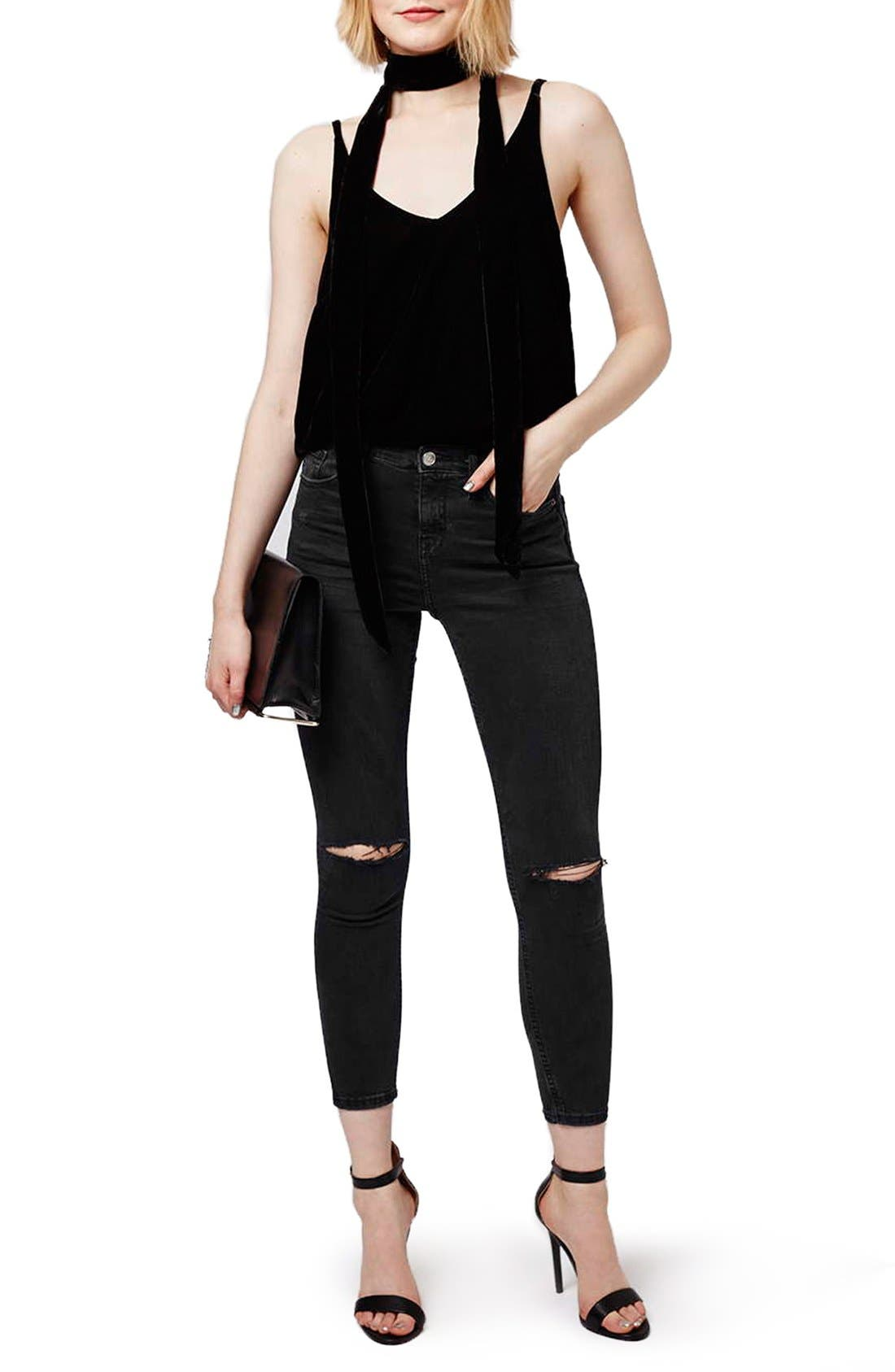 Alternate Image 2  - Topshop Moto 'Jamie' Ripped Skinny Crop Jeans (Petite)