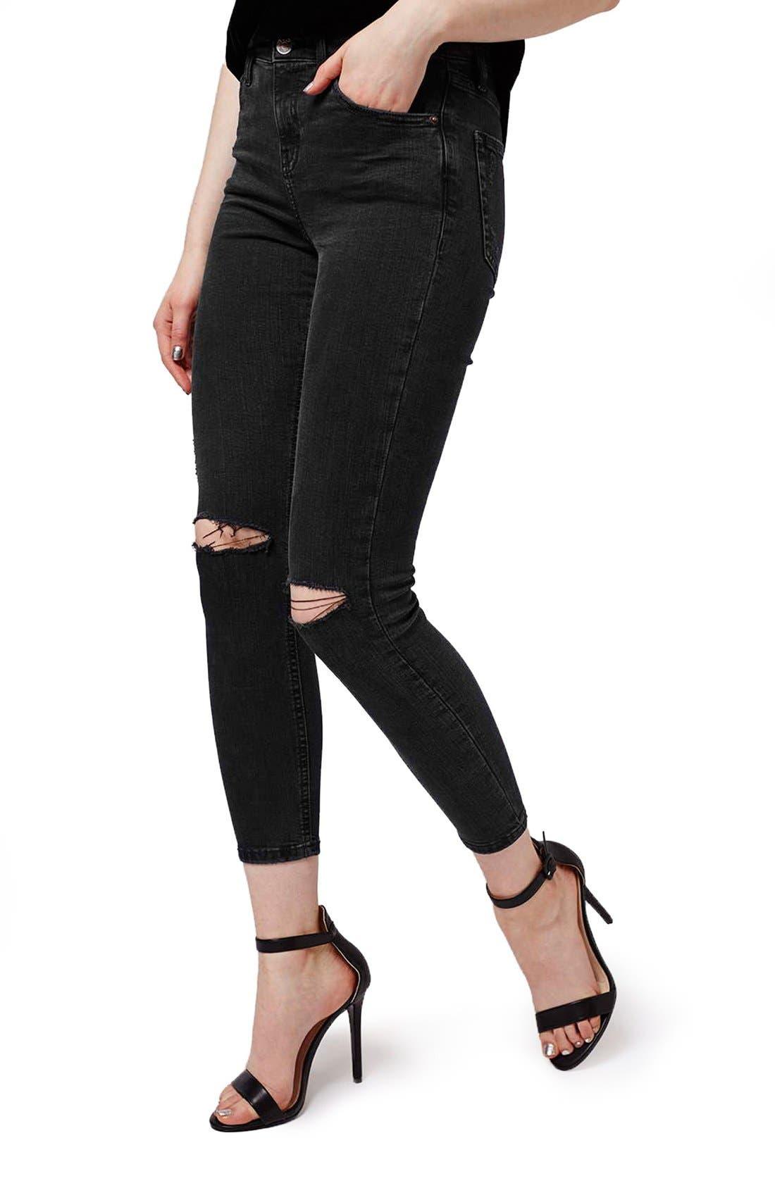 Main Image - Topshop Moto 'Jamie' Ripped Skinny Crop Jeans (Petite)