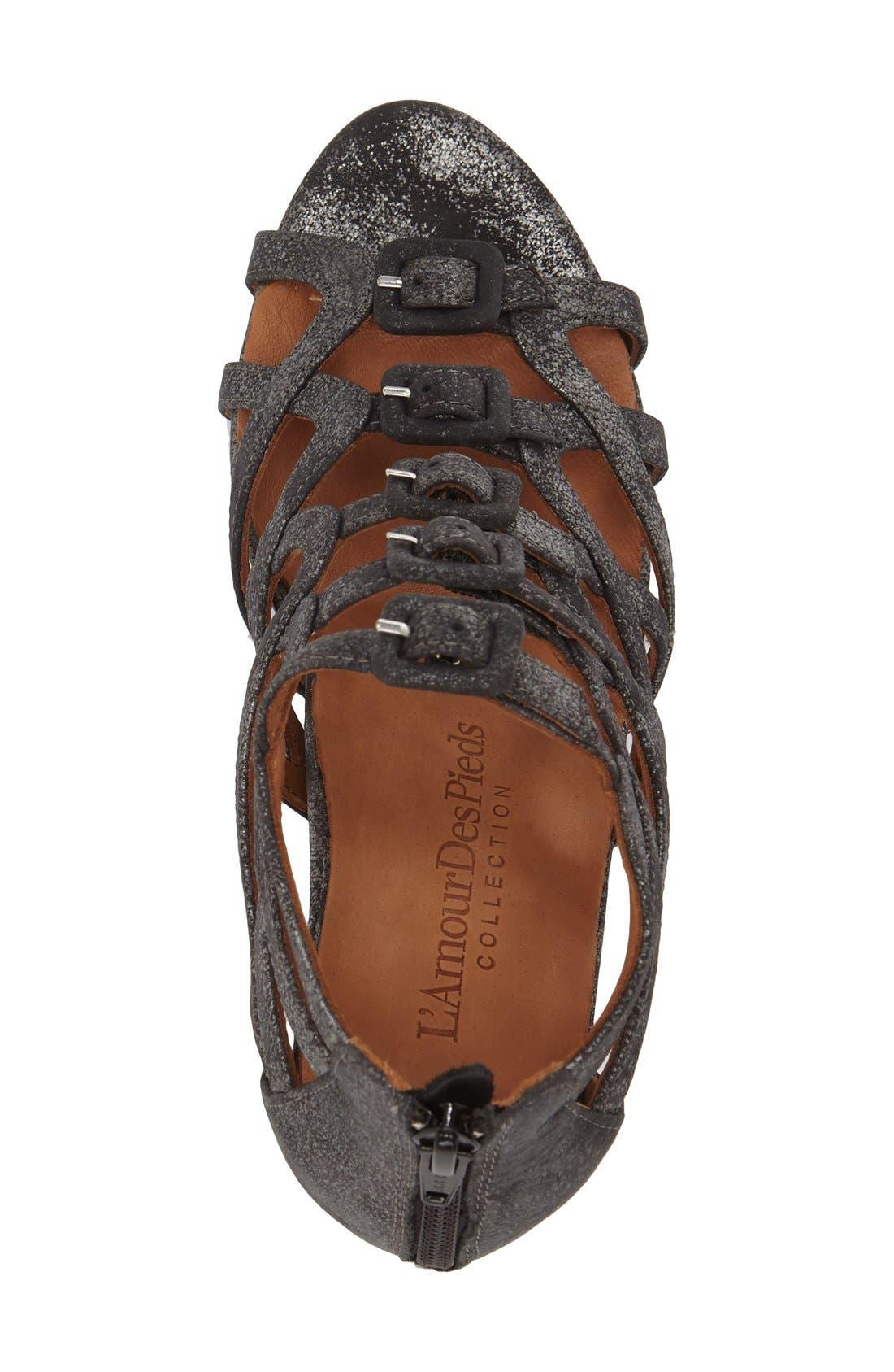 Ivanna' Gladiator Wedge Sandal,                             Alternate thumbnail 3, color,                             Graphite Leather