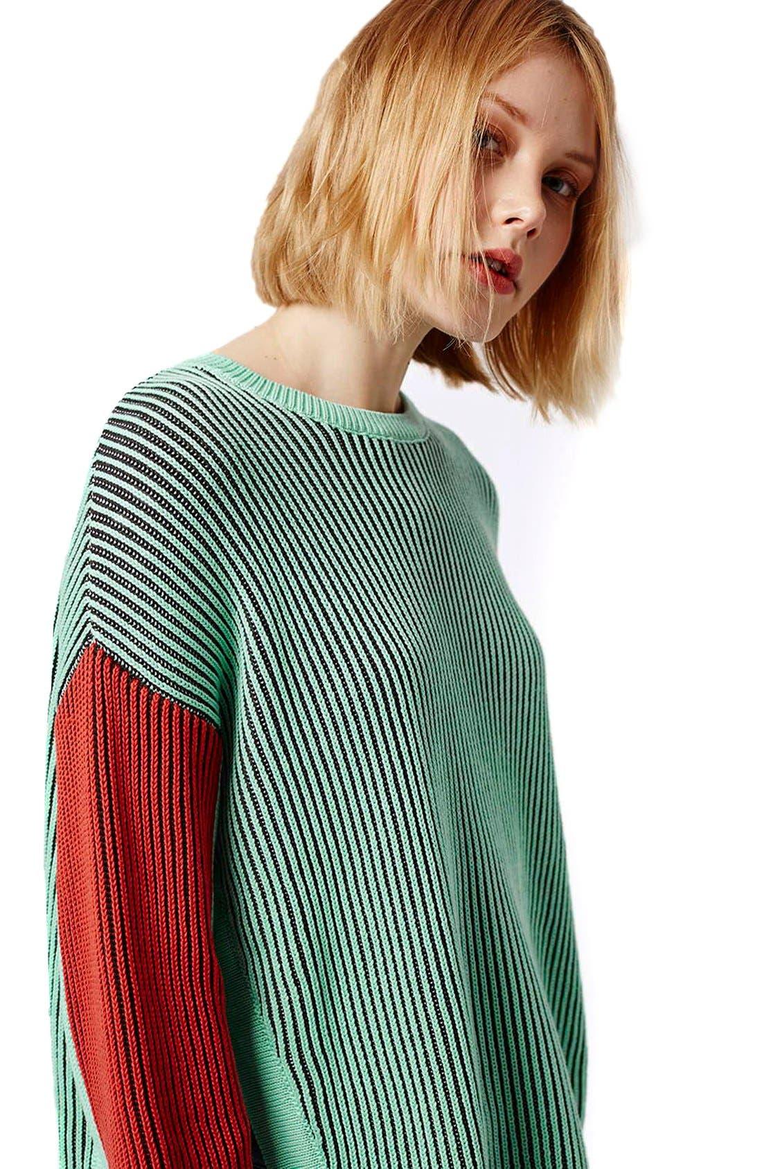 Alternate Image 5  - Topshop Colorblock Crewneck Sweater