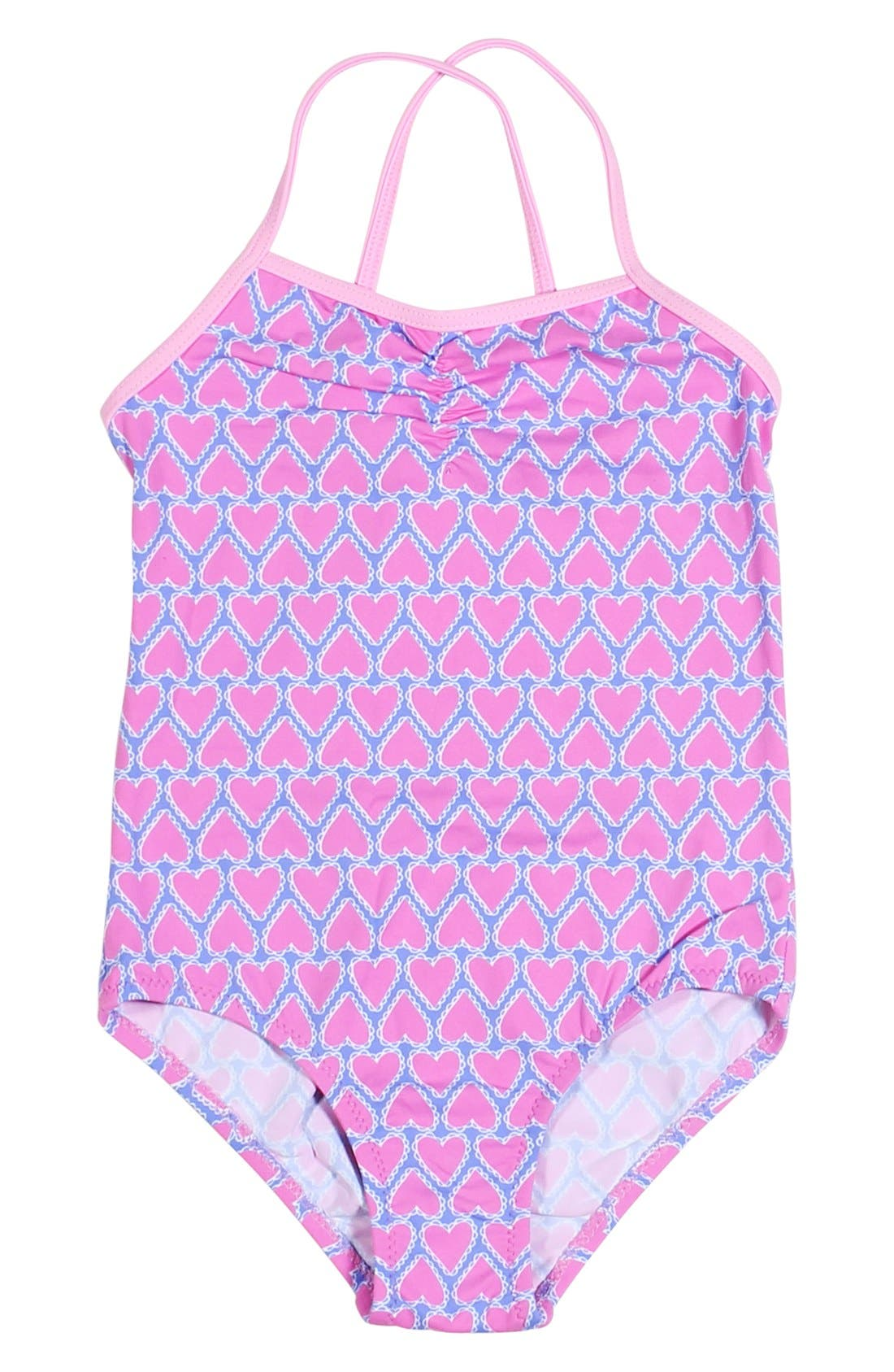 Main Image - Stella Cove Heart Print One-Piece Swimsuit (Big Girls)