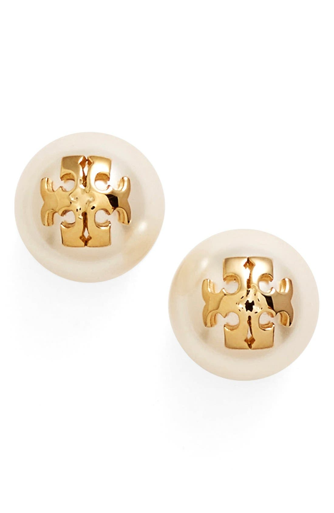 Main Image - Tory Burch Swarovski Crystal Pearl Logo Stud Earrings