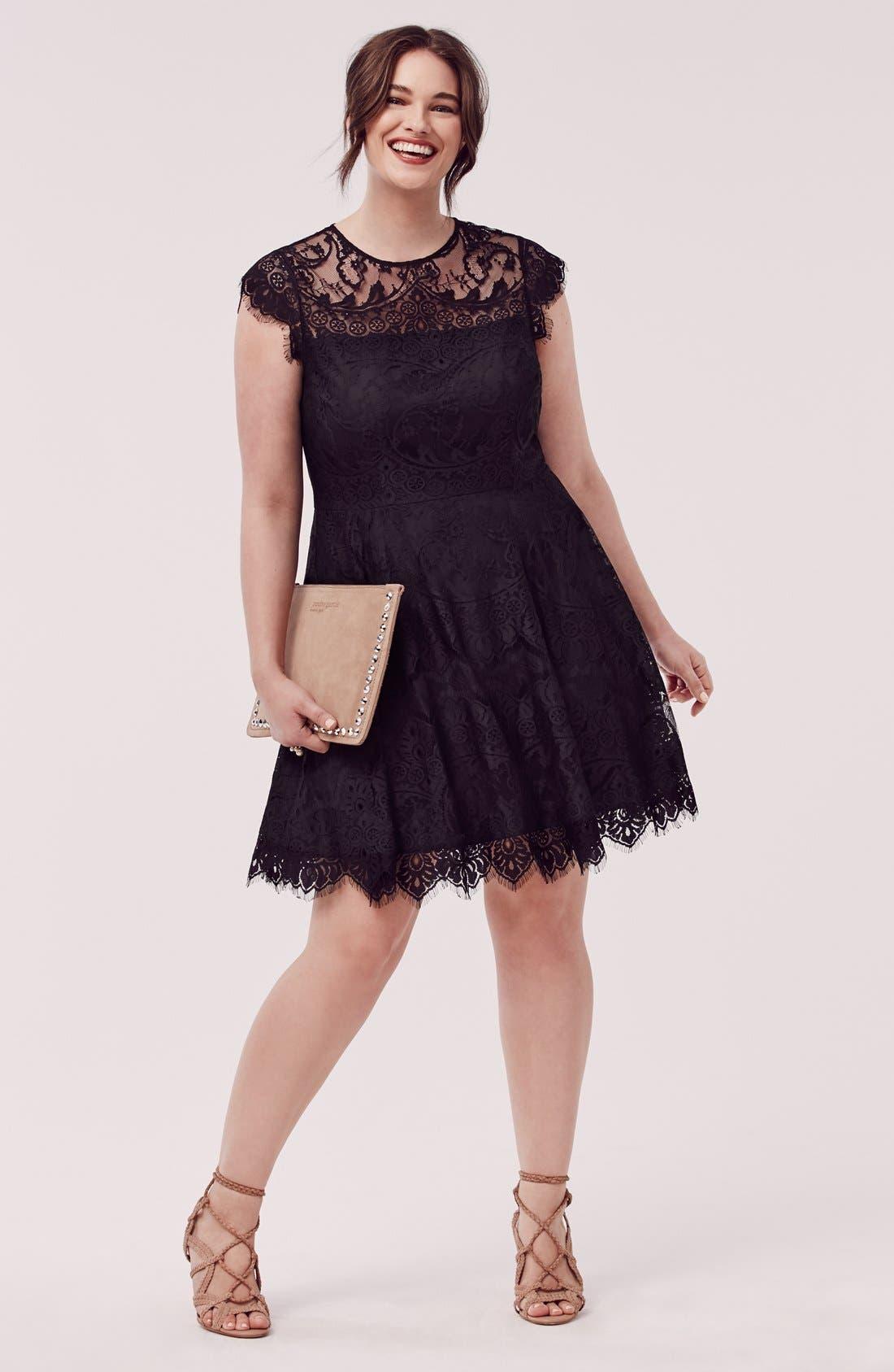 Alternate Image 6  - BB Dakota 'Rhianna' Lace Fit & Flare Dress (Plus Size)