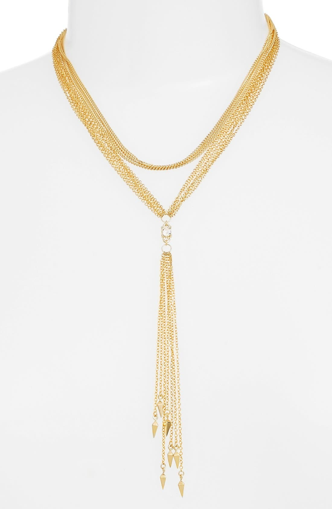 Multi Chain Y-Necklace,                         Main,                         color, Gold