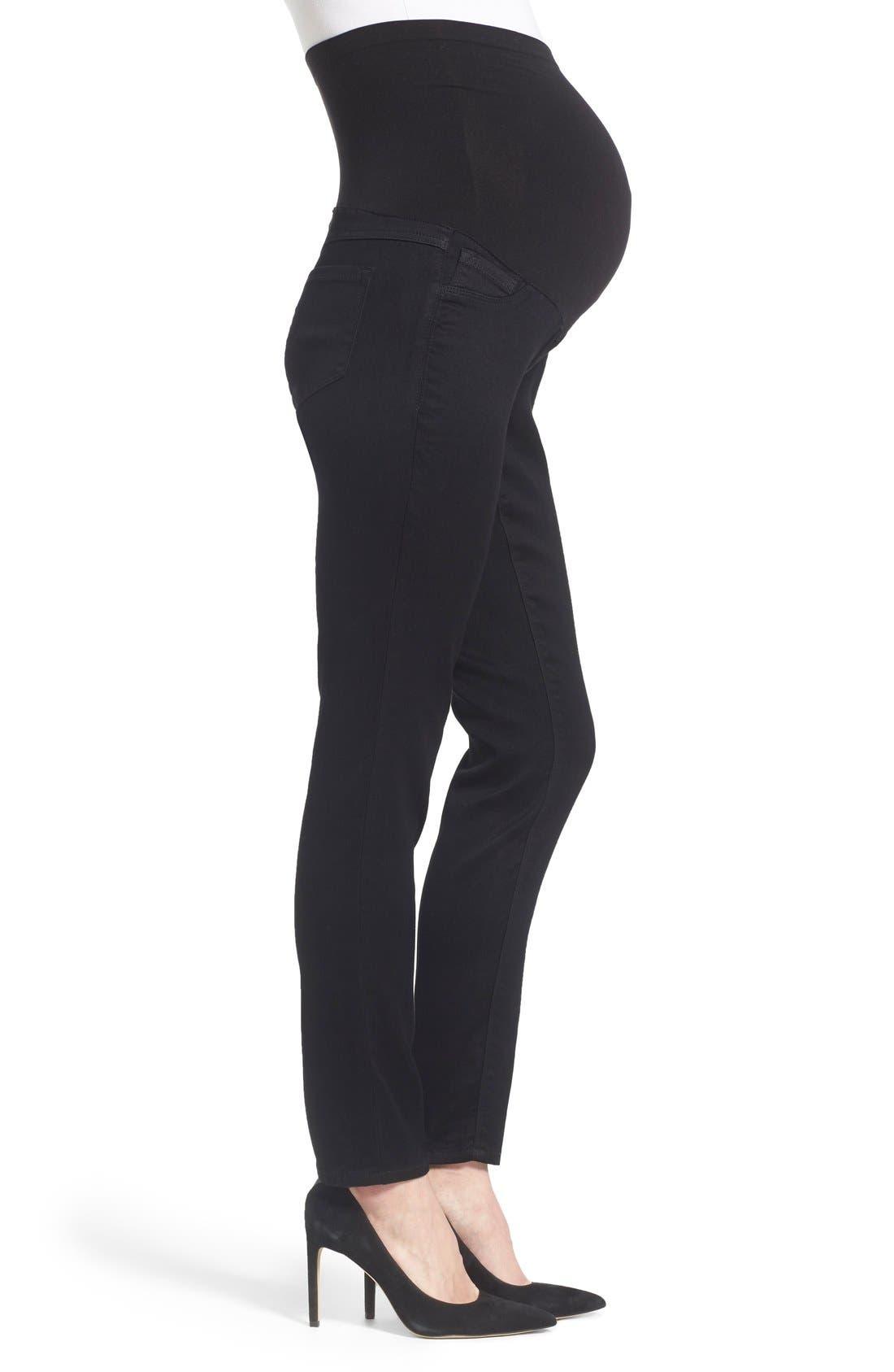 'Butter' Maternity Skinny Jeans,                             Alternate thumbnail 3, color,                             Black