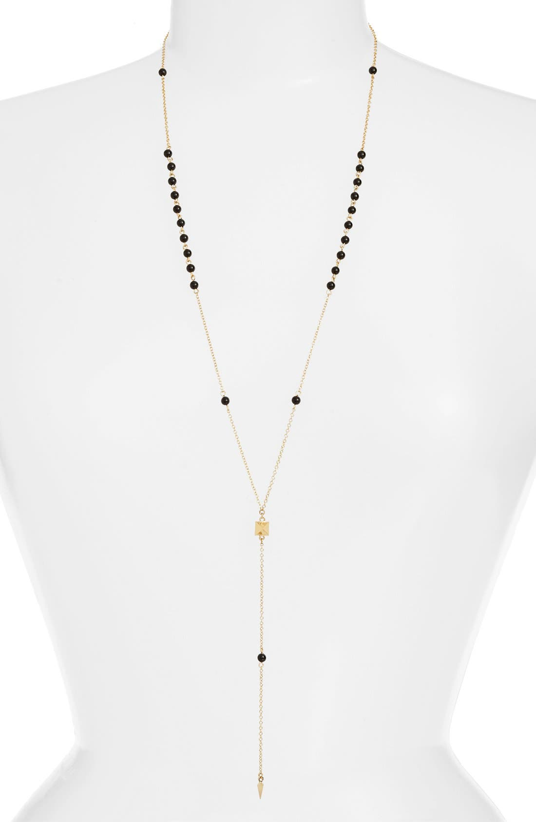 'Waiting in Line' Beaded Onyx Y-Chain Necklace,                         Main,                         color, Gold
