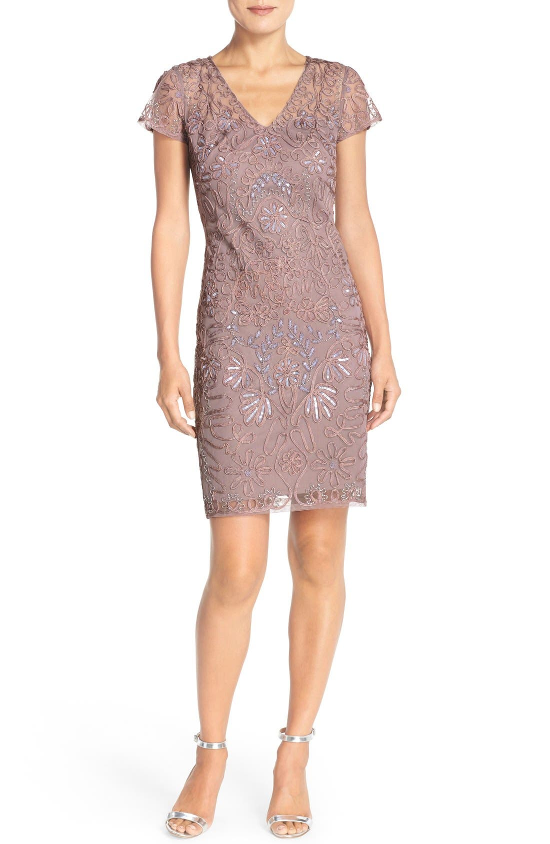 Embellished Soutache Sheath Dress,                             Alternate thumbnail 2, color,                             Dusty Lavender