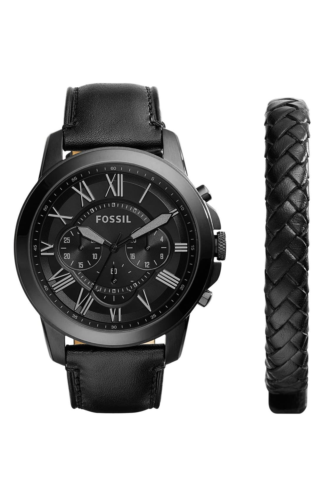 Main Image - Fossil 'Grant' Watch & Leather Strap Set