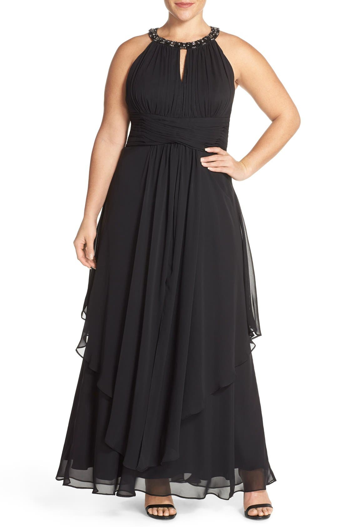 Embellished Keyhole Neck Chiffon Gown,                             Main thumbnail 1, color,                             Black
