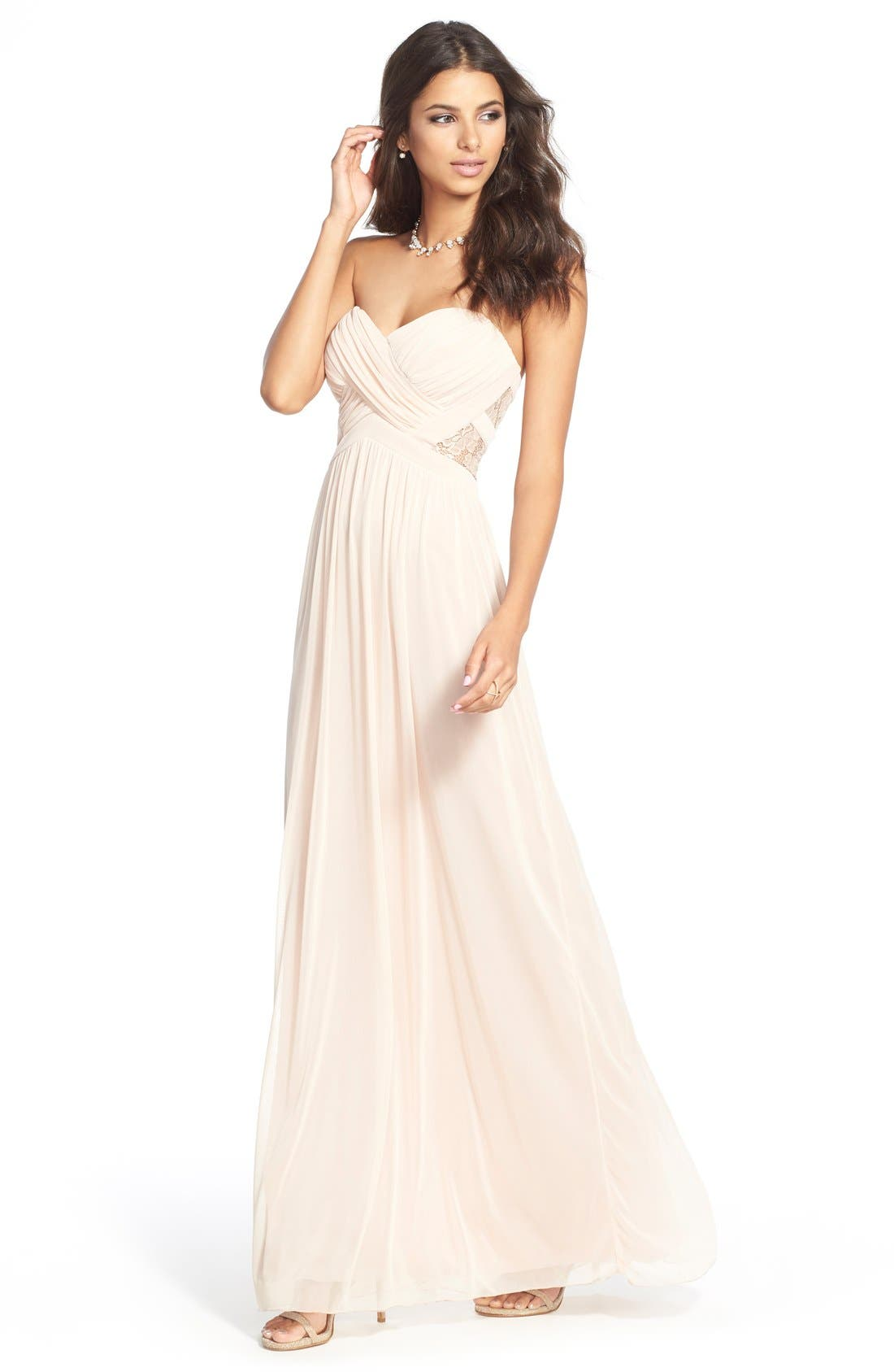 Alternate Image 2  - Way-In 'Diana' Lace Inset Strapless Gown