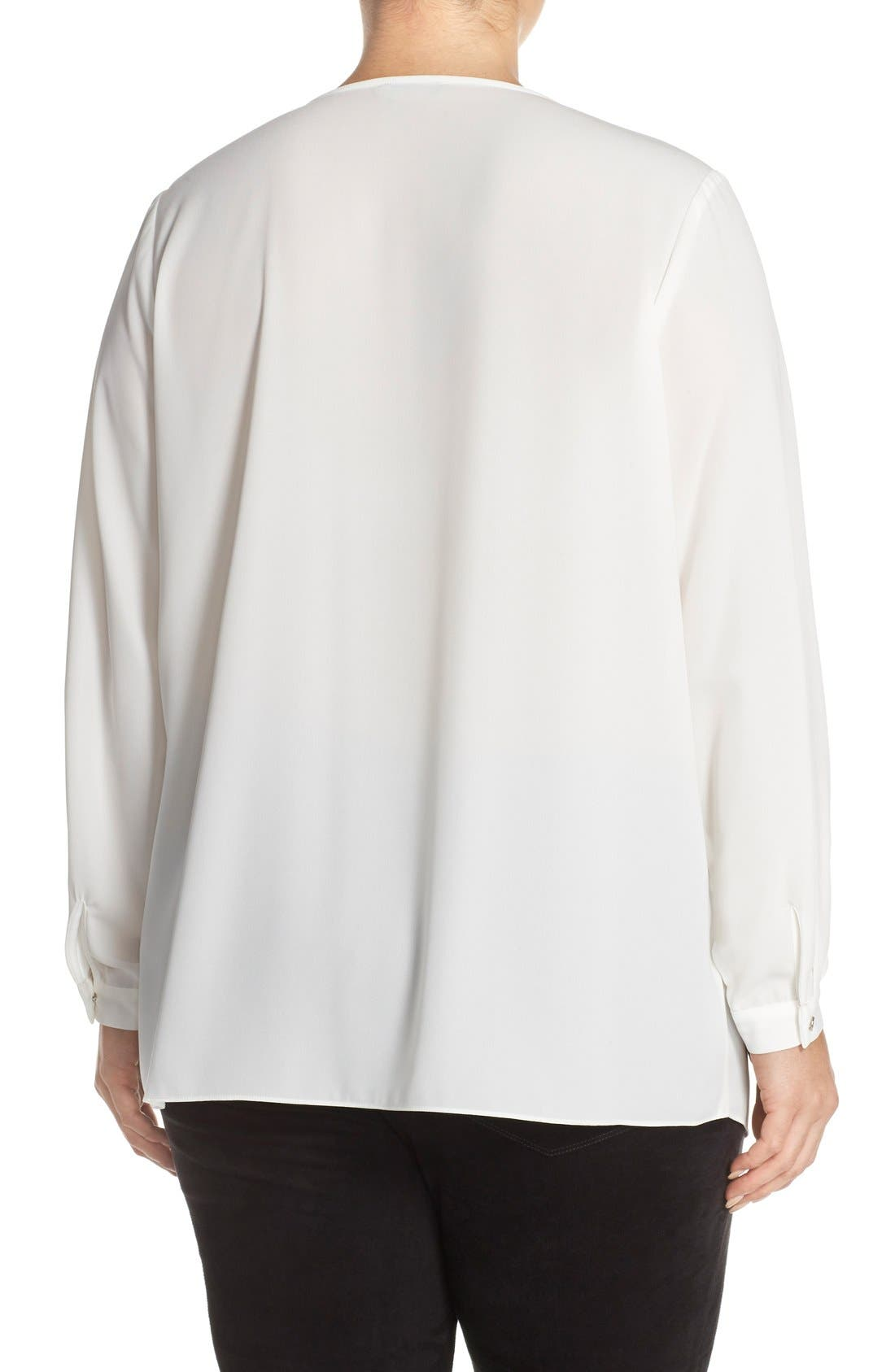 Alternate Image 2  - Vince Camuto Pleat Front V-Neck Blouse (Plus Size)