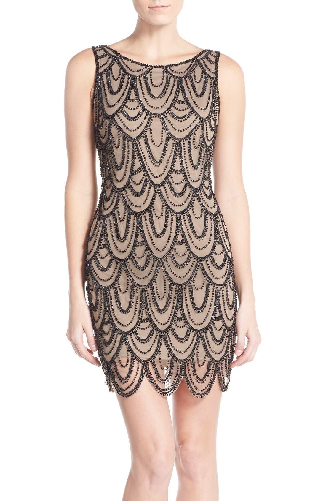 Embellished Mesh Sheath Dress,                         Main,                         color, Khaki