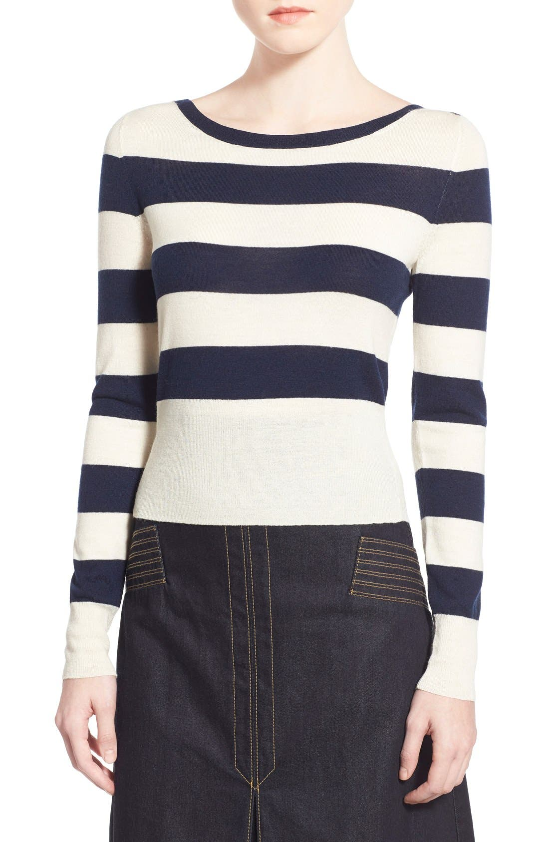 Main Image - Olivia Palermo + Chelsea28 Stripe Wool & Cashmere Pullover