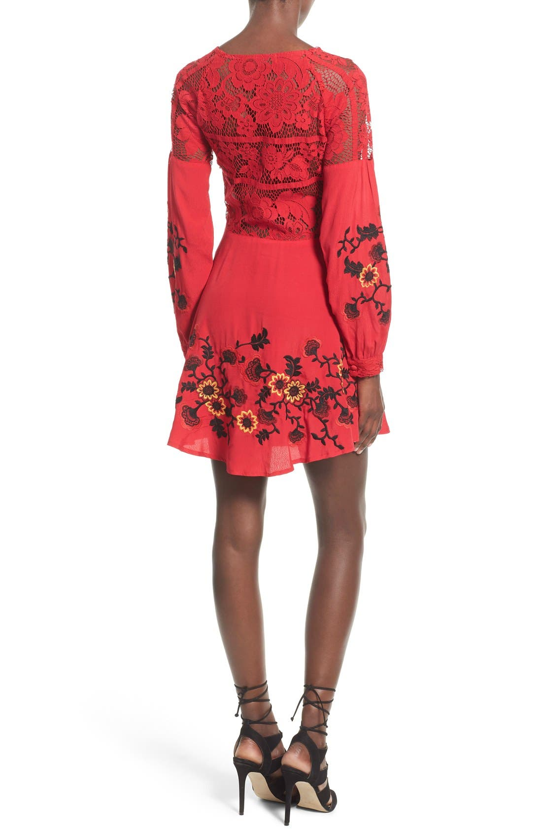 'Isabella' Fit & Flare Dress,                             Alternate thumbnail 2, color,                             Hot Red