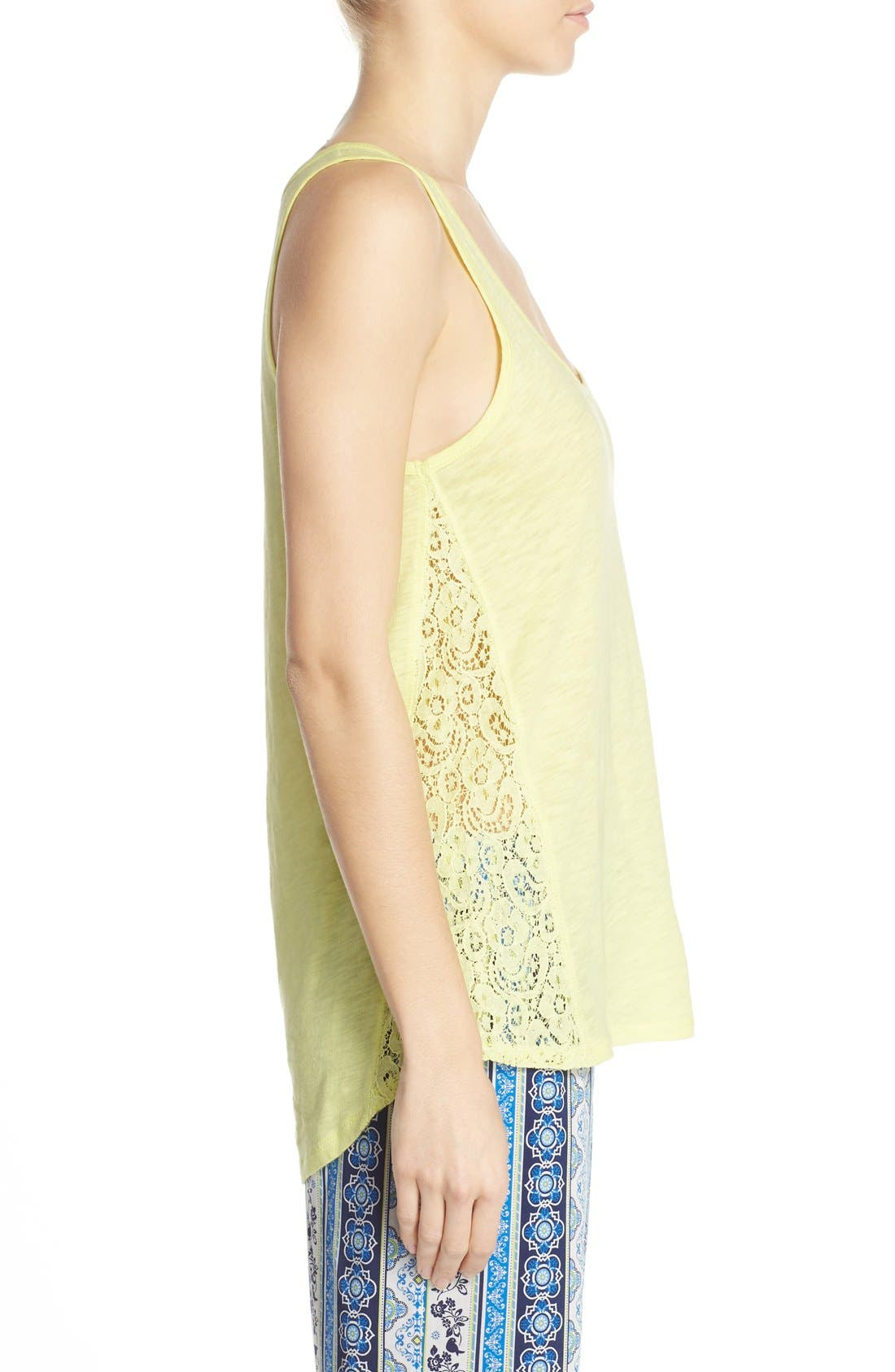 Alternate Image 3  - PJ Salvage Lace Inset Jersey Tank