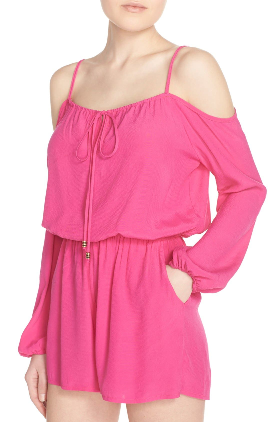 Cold Shoulder Romper,                             Alternate thumbnail 4, color,                             Pink