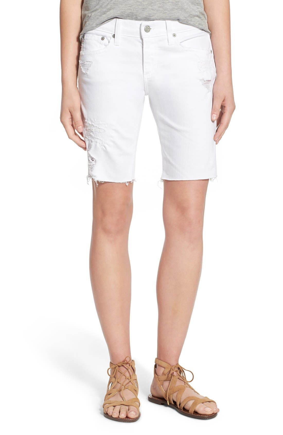 AG 'Nikki' Cutoff Denim Bermuda Shorts (1 Year White Mended)