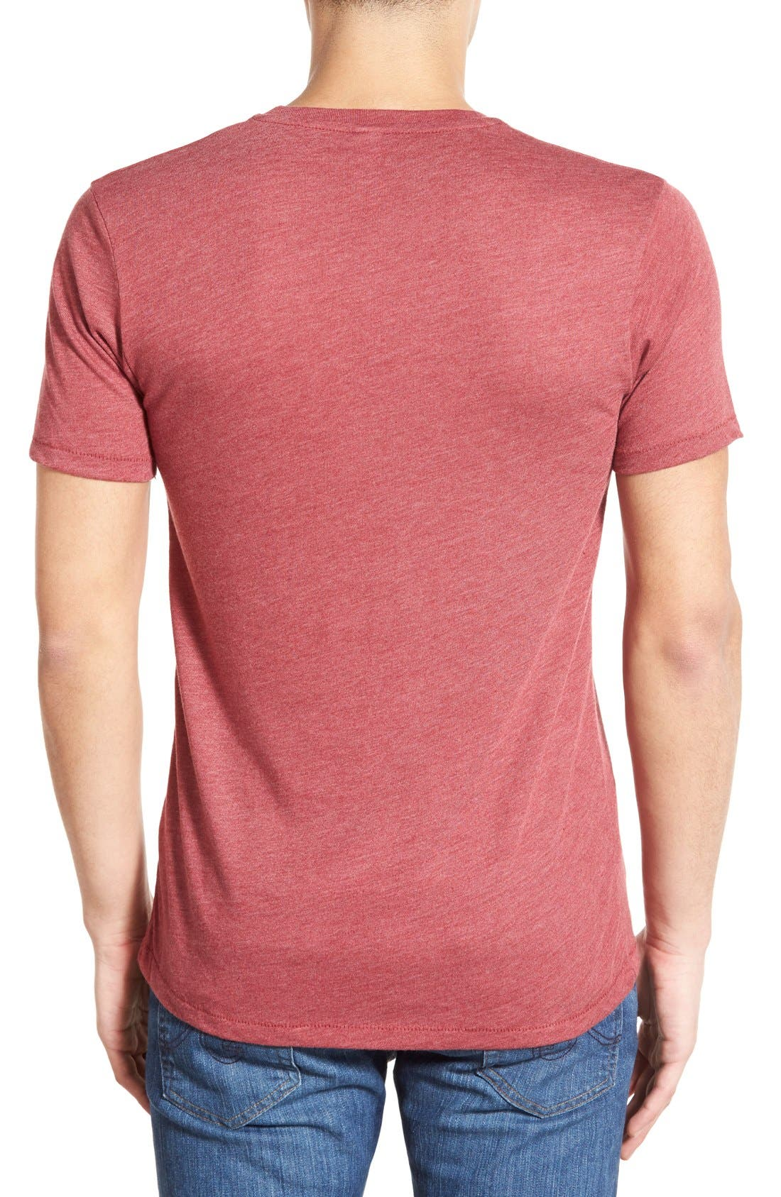 Alternate Image 2  - Alternative Heathered Trim Fit V-Neck T-Shirt