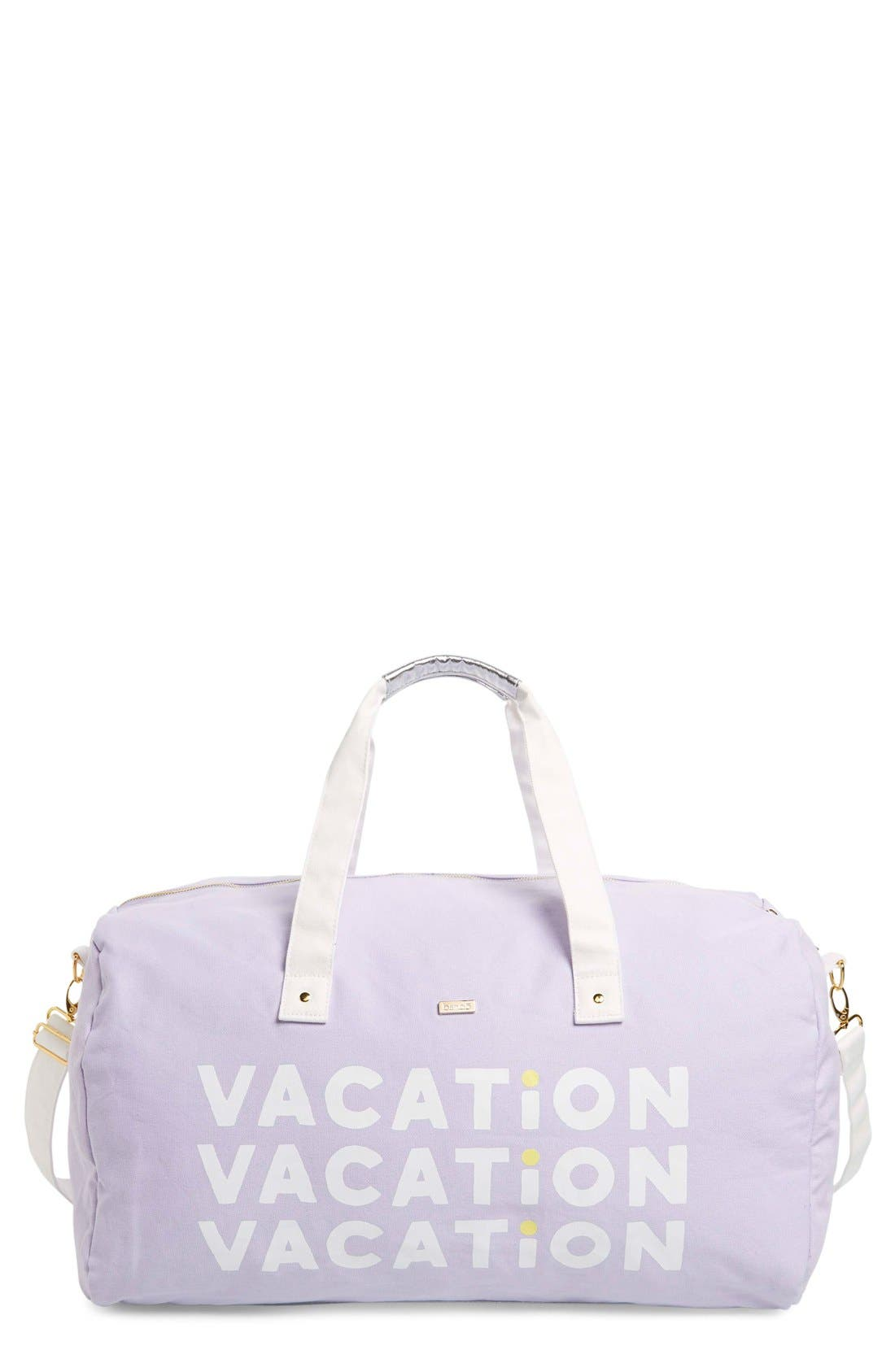 'Vacation Vacation Vacation' Canvas Duffel,                             Main thumbnail 1, color,                             Purple
