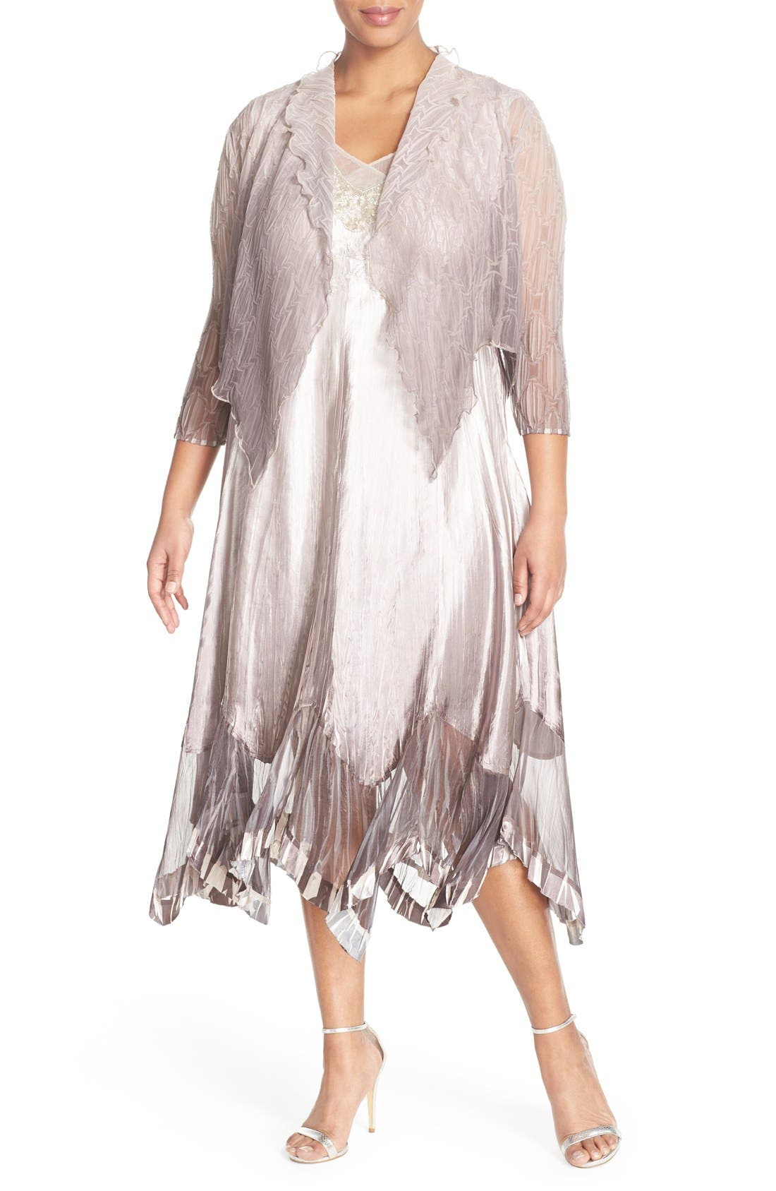 Embellished V-Neck Chiffon & Charmeuse Dress with Jacket,                             Main thumbnail 1, color,                             Beach Cafe Ombre