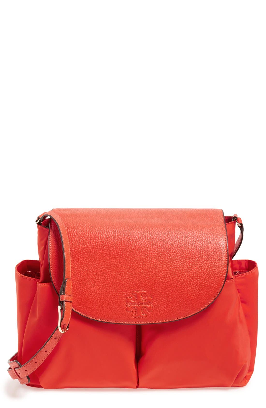 'Thea' Messenger Leather & Nylon Baby Bag,                             Main thumbnail 1, color,                             Poppy Red