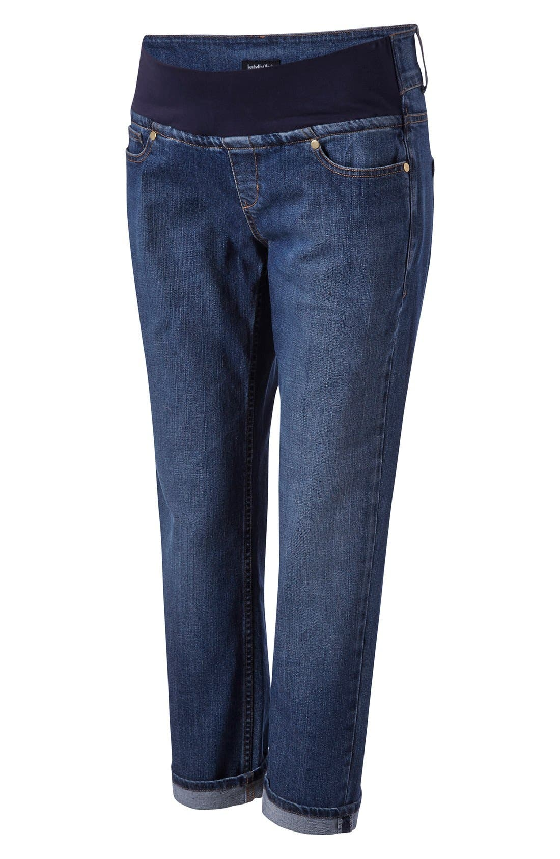 Relaxed Maternity Jeans,                         Main,                         color, Washed Indigo