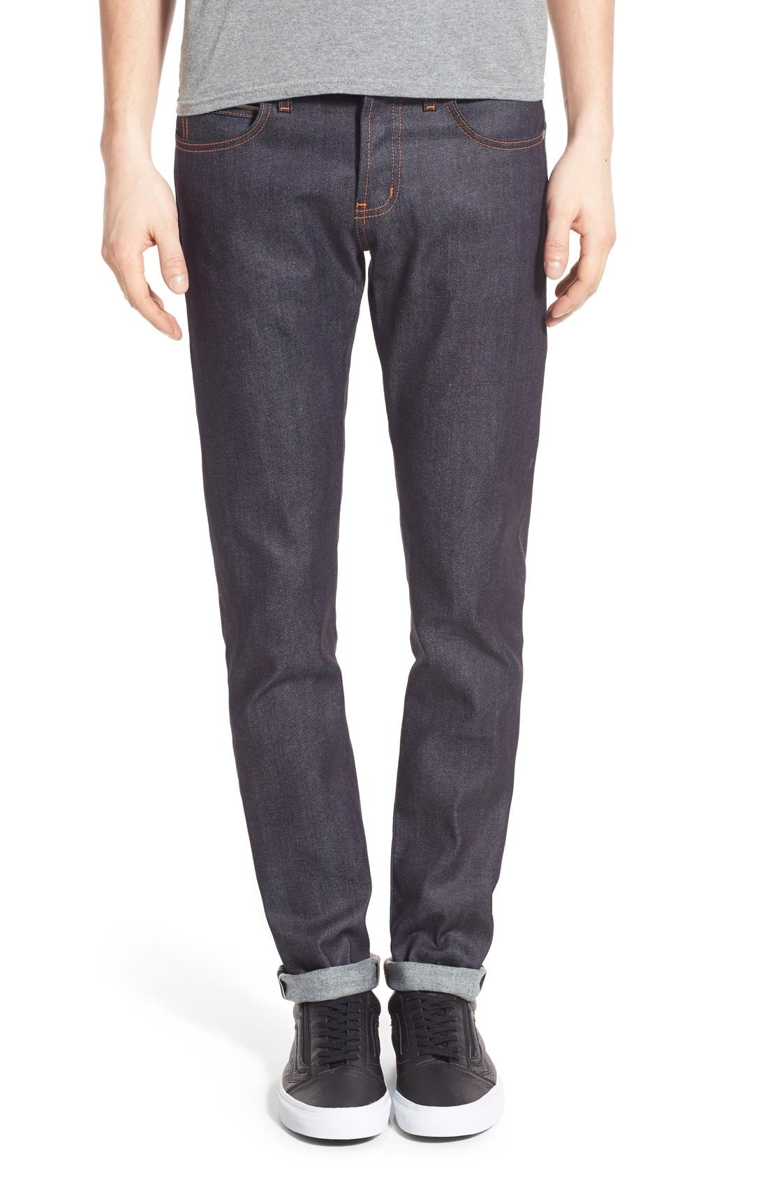 'Super Skinny Guy' Skinny Fit Selvedge Jeans,                             Main thumbnail 1, color,                             11Oz Stretch