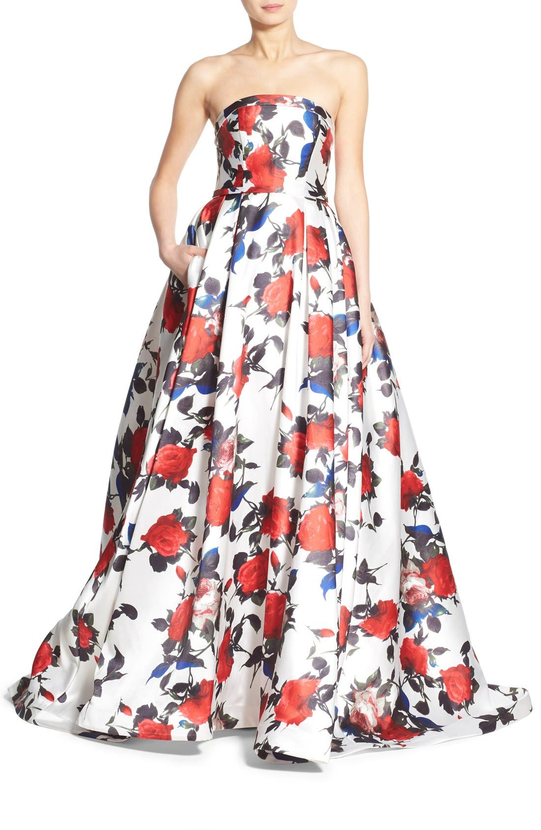 Floral Print Strapless Gown,                             Main thumbnail 1, color,                             White Multi