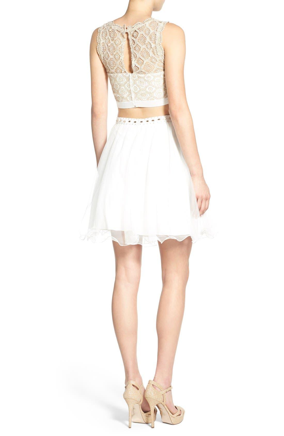Alternate Image 2  - Sequin Hearts Crochet Lace Two-Piece Dress