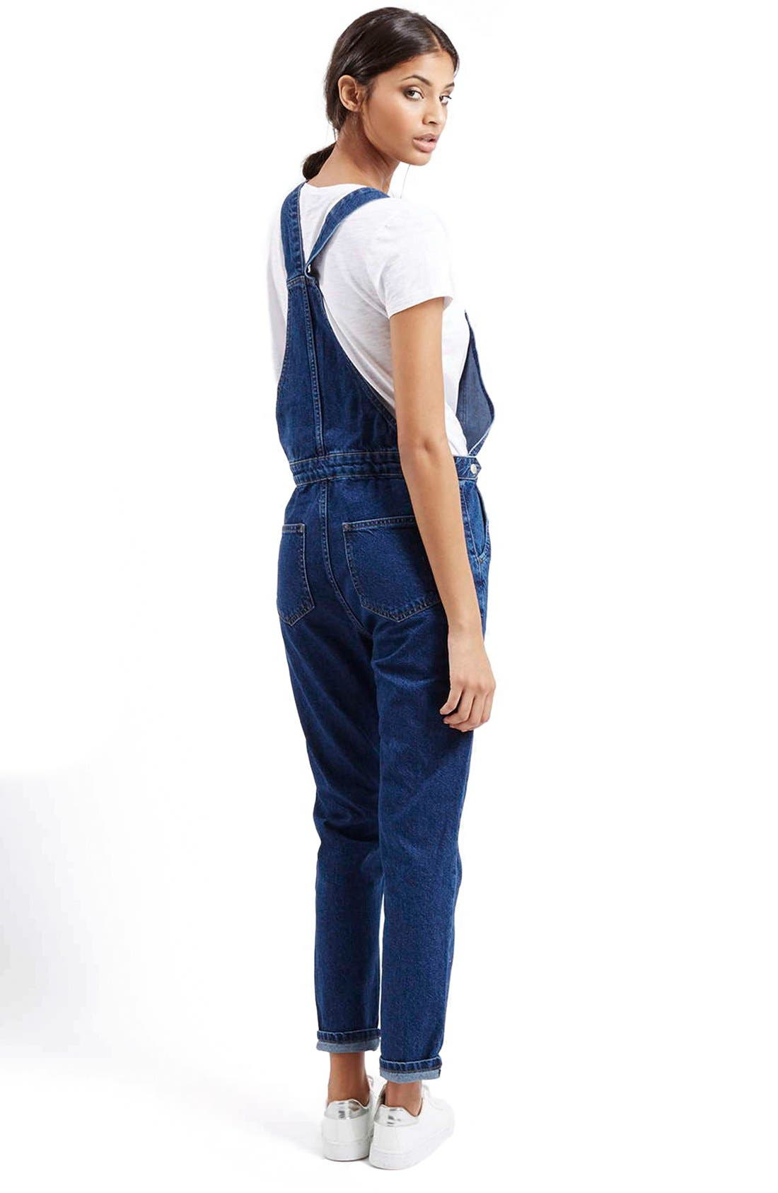 Alternate Image 2  - Topshop Denim Overalls (Mid Denim)