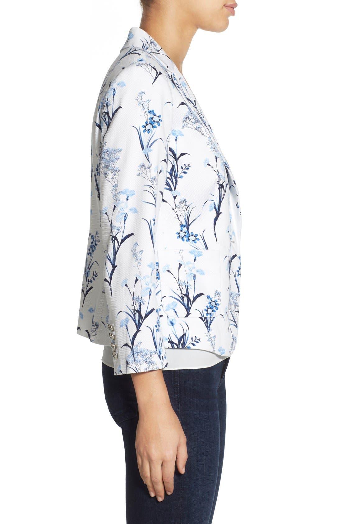 by Cynthia Steffe 'Tulum Bouquet' Floral Print Pique Blazer,                             Alternate thumbnail 4, color,                             Stone Blue