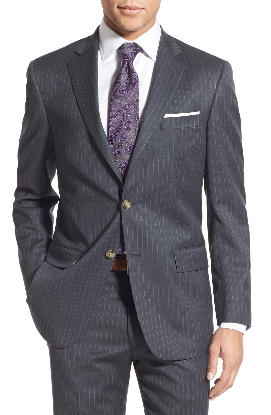 New York Classic Fit Stripe Wool Suit,                             Alternate thumbnail 6, color,                             Grey