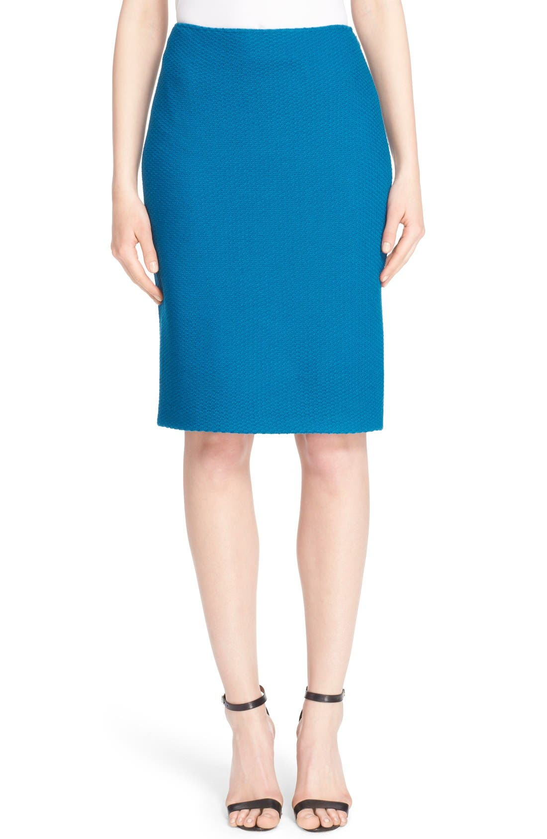 Main Image - St. John Collection Textural Twill Pencil Skirt