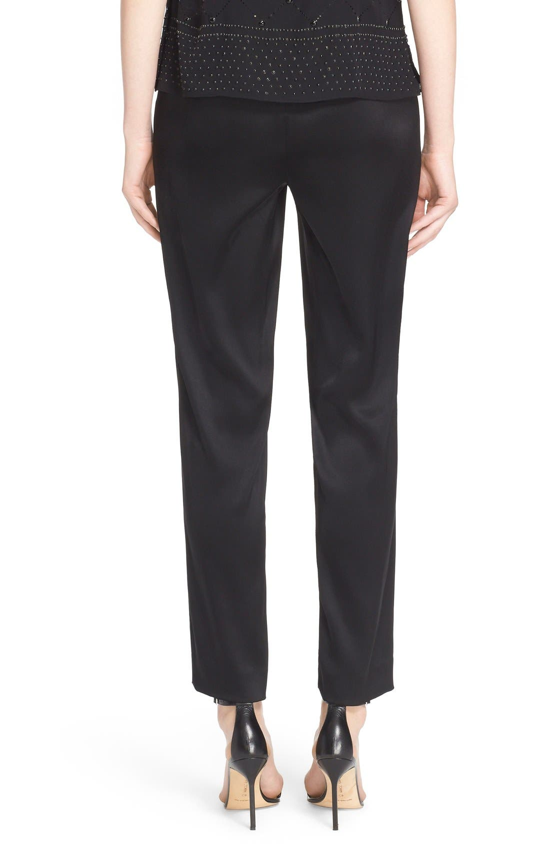 Emma Satin Ankle Pants,                             Alternate thumbnail 2, color,                             Caviar