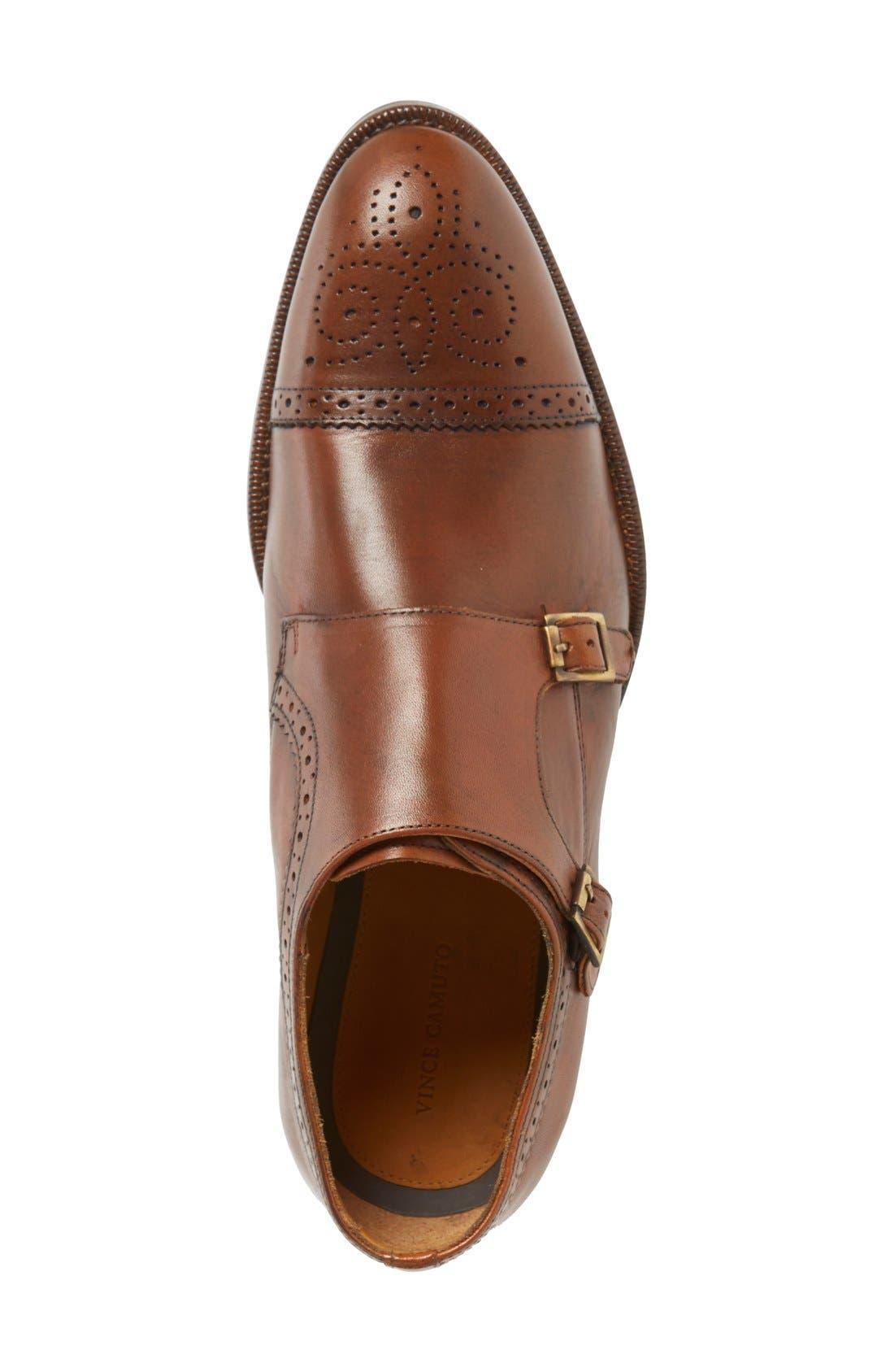 'Briant' Double Monk Strap Shoe,                             Alternate thumbnail 3, color,                             Cognac Leather