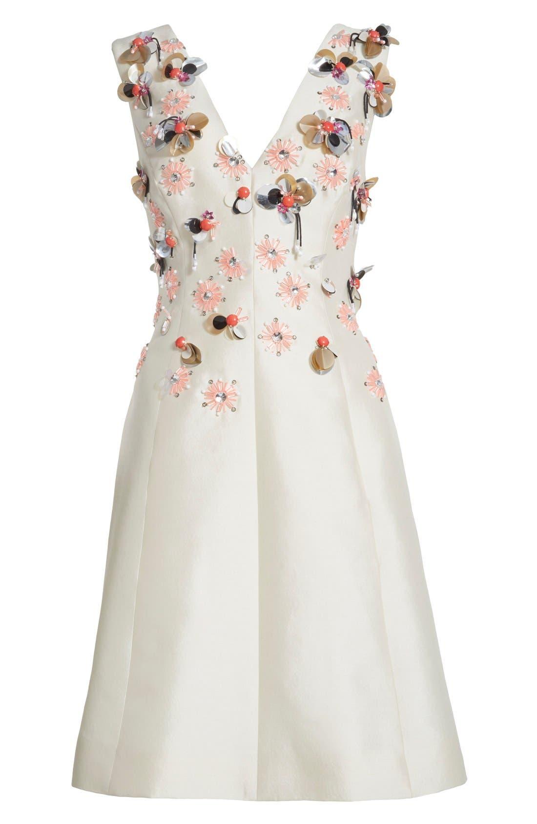 Alternate Image 4  - Lela Rose Embellished Wool & Silk A-Line Dress