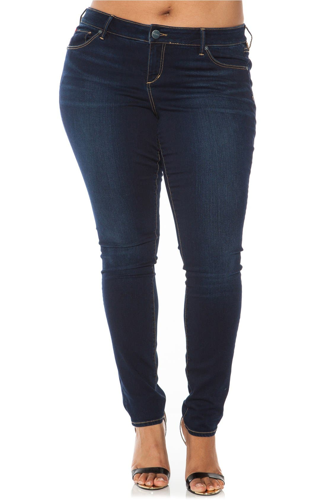 'The Skinny' Stretch Denim Jeans,                             Main thumbnail 1, color,                             Amber