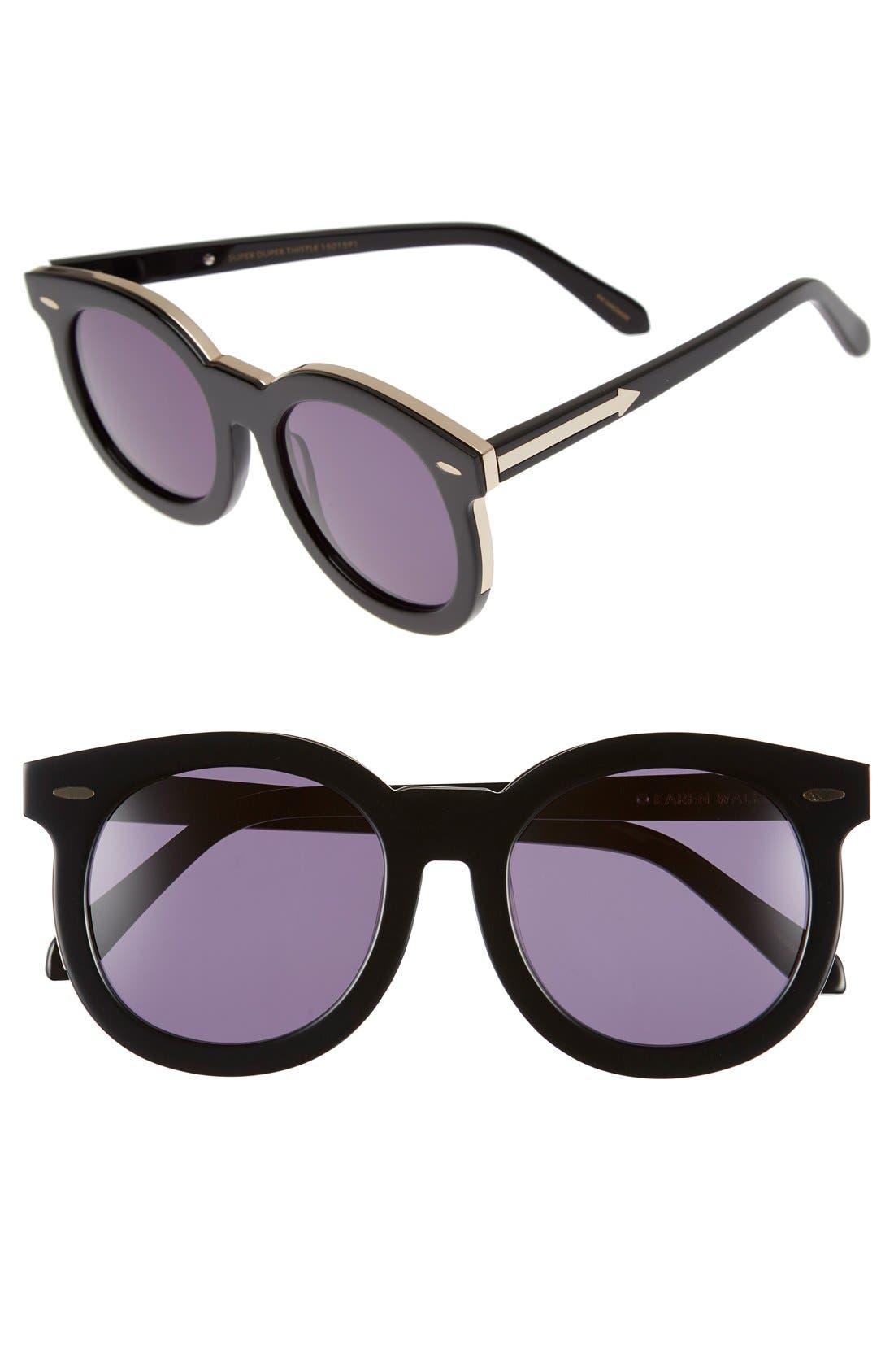 'Super Duper Thistle' 52mm Retro Sunglasses,                         Main,                         color, Black/ Gold