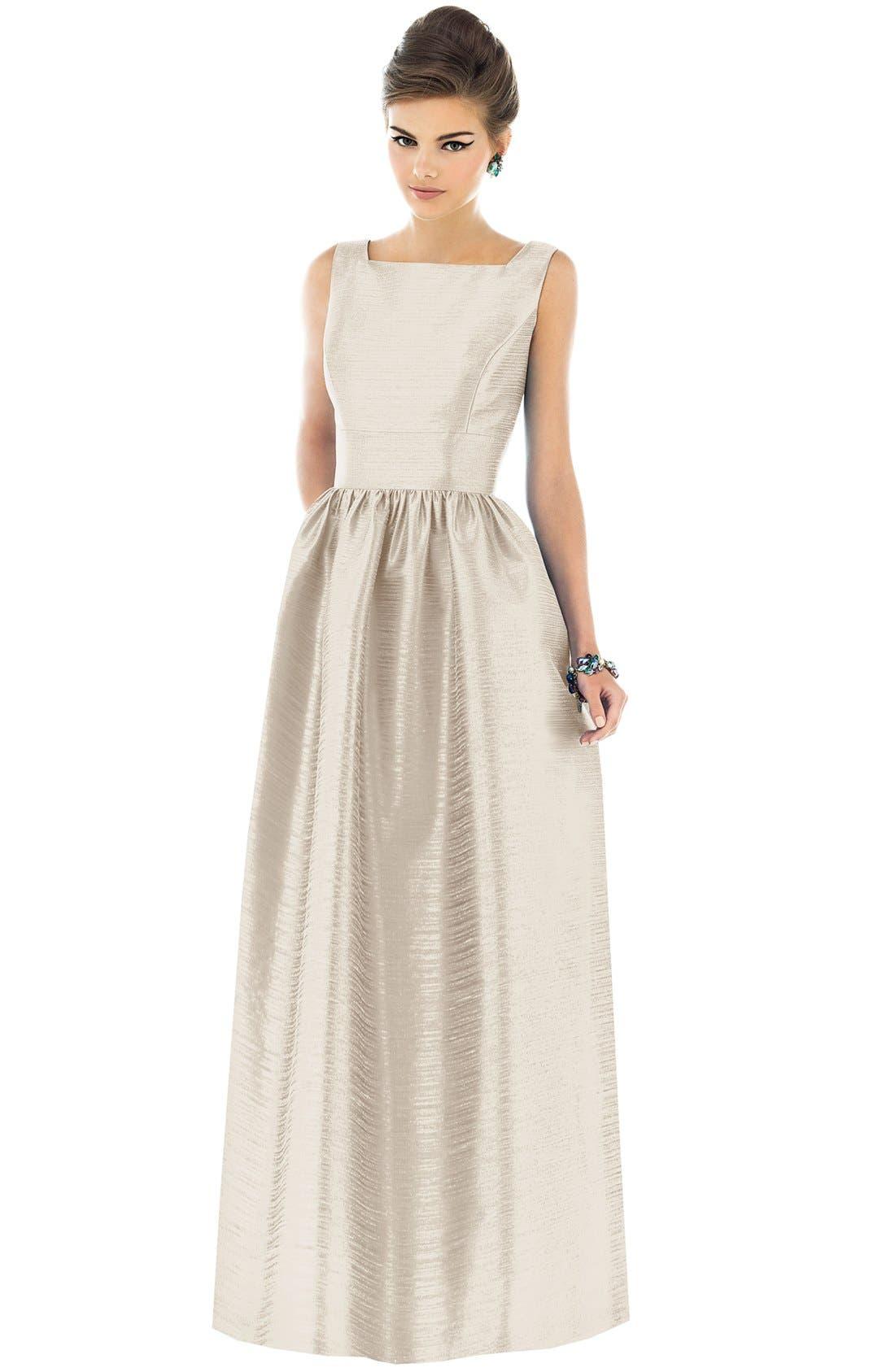 Square Neck Dupioni Full Length Dress,                             Main thumbnail 1, color,                             Champagne
