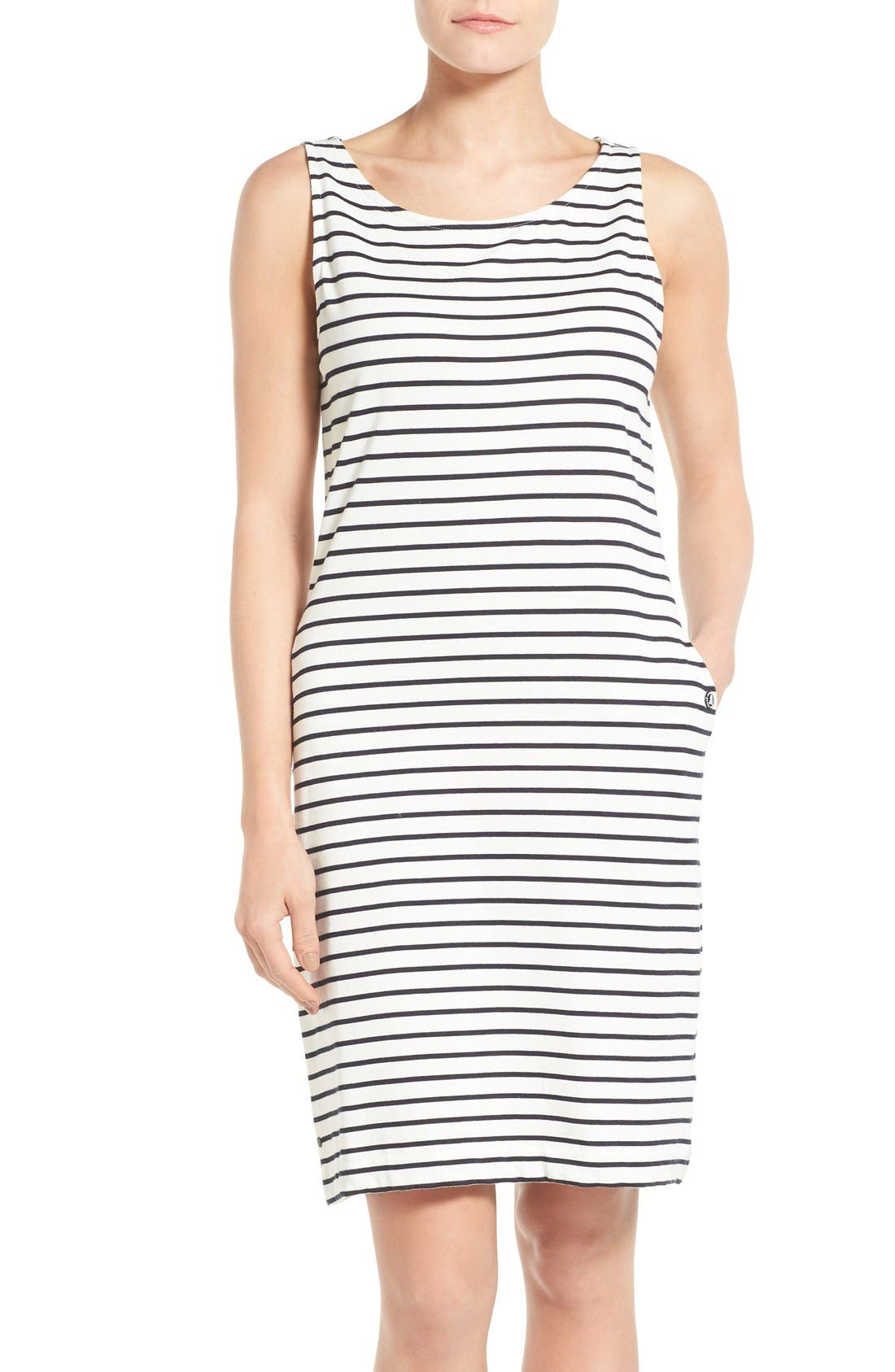 Dalmore Stripe Jersey Sleeveless Shift Dress,                         Main,                         color, White/ Navy