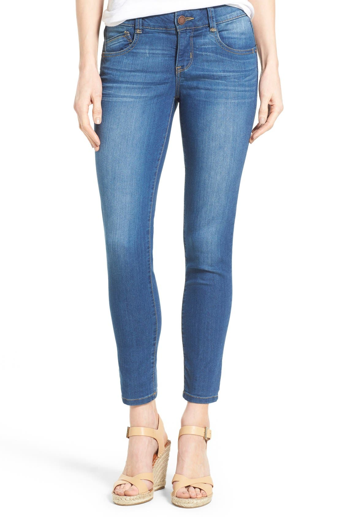 'Ab-solution' Stretch Ankle Skinny Jeans,                             Main thumbnail 1, color,                             Blue