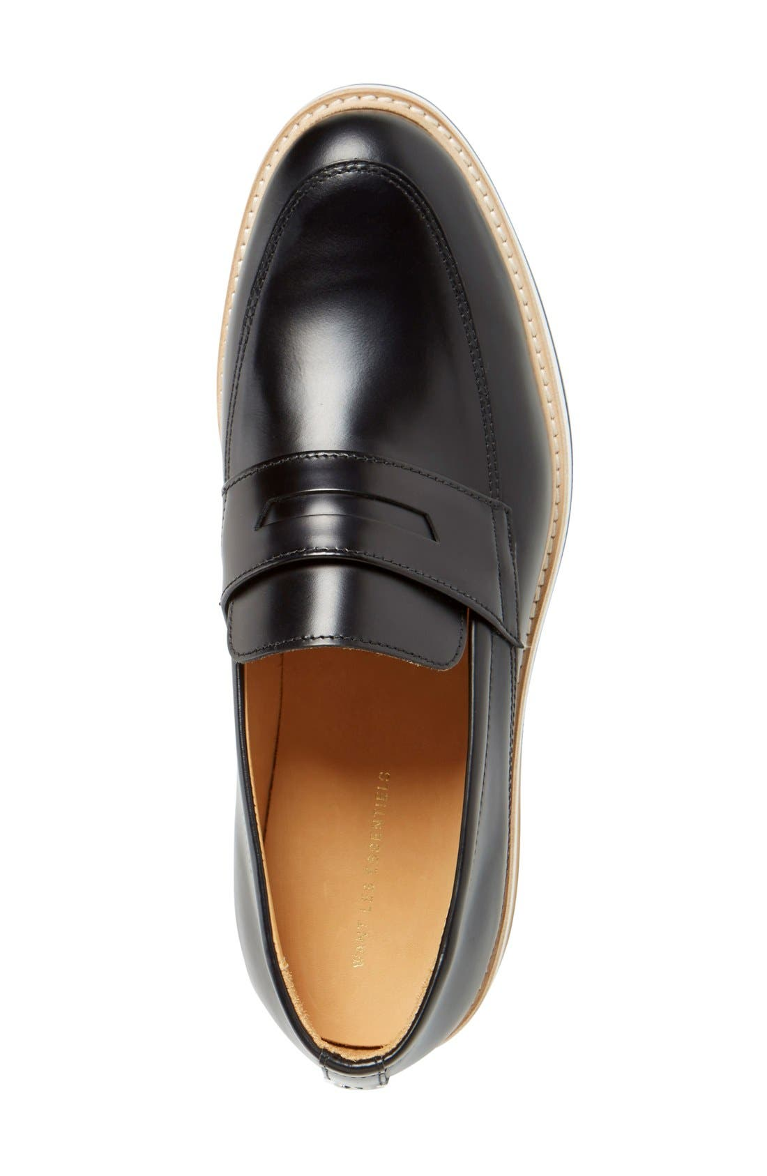 'Marcos' Loafer,                             Alternate thumbnail 3, color,                             Black Leather